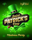 Saint Patrick`s Day party poster design. 17 March nightclub invitation with leprechaun hat, gold lettering, party streamers, green bow tie and smouldering Stock Photos