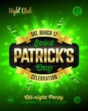 Saint Patrick`s Day poster design template. Saint Patrick`s Day, Feast of Saint Patrick party poster design, 17 March celebration, vector illustration Stock Images