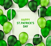 Saint Patrick`s Day Poster with Shiny Balloons Stock Photography