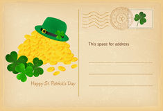 Saint Patrick's Day retro greeting card with coins of gold, hat and clover . Vector illustration. Saint Patrick's Day celebration retro greeting card with coins Stock Photos