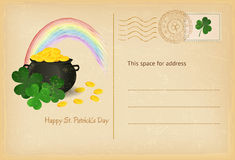 Saint Patrick's Day retro greeting card with pot of gold and rainbow. Vector illustration. Royalty Free Stock Photos