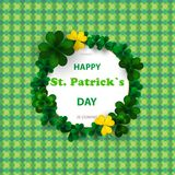 Saint Patrick`s Day Round Frame with Green Four and Tree Leaf Clovers  on bright Background. Vector illustration. Party I. Saint Patrick`s Day Round Frame with Stock Photography