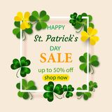 Saint Patrick`s Day Round Frame with Green Four and Tree Leaf Clovers Isolated on White Background. Vector illustration. Party In. Saint Patrick`s Day Round Royalty Free Stock Photo
