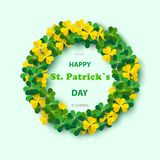 Saint Patrick`s Day Round Frame with Green Four and Tree Leaf Clovers Isolated on White Background. Vector illustration. Party In. Vitation Design, Typographic Royalty Free Stock Image