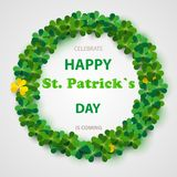 Saint Patrick`s Day Round Frame with Green Four and Tree Leaf Clovers Isolated on White Background. Vector illustration. Party In. Vitation Design, Typographic Royalty Free Stock Photography