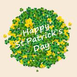 Saint Patrick`s Day Round Frame with Green Four and Tree Leaf Clovers Isolated on White Background. Vector illustration. Party Invitation Design, Typographic Stock Image
