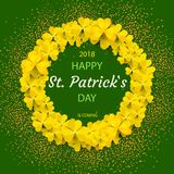 Saint Patrick`s Day Round Frame with yellow Tree Leaf Clovers Isolated on green Background. Vector illustration. Party. Invitation Design, Typographic Template Royalty Free Stock Images