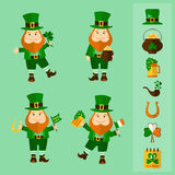Saint Patrick's Day set: four leprechauns and traditional elements Stock Images
