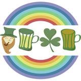 Saint Patrick's Day set with rainbow. Royalty Free Stock Photos