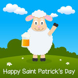 Saint Patrick s Day Sheep in a Meadow Stock Photo