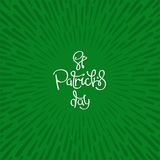 Saint Patrick`s Day. St. Patrick`s Day. Abstract background with radially grunge sunburst and handwritten calligraphy composition. Vector design Royalty Free Stock Photography