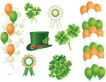 Saint Patrick's day symbols. Clover, balloons, hat and badges Royalty Free Stock Photo