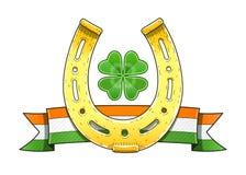 Saint Patrick's Day symbols. Horseshoe. Flag. Shamrock Stock Photos