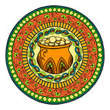 Saint Patrick's Day Theme mandala with Irish pot of gold and golden coins with clover and ethnic floral ornament. Royalty Free Stock Photos