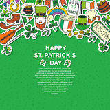 Saint Patrick`s Day traditional symbols collection. Stock Image