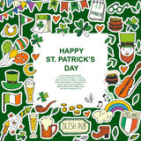 Saint Patrick s Day traditional symbols collection. Royalty Free Stock Images