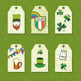 Saint Patrick`s Day traditional symbols collection. Set of greeting and invitation cards. Stock Photography