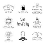 Saint Patrick s Day traditional symbol set. Vector illustration. Saint Patrick s Day traditional symbols set. Irish music, flags, beer mugs, clover, pub royalty free illustration