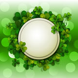 Saint Patrick's Day vector background, round banner with shamrock leaves Stock Photo