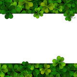 Saint Patrick's Day vector background with shamrock leaves and banner Royalty Free Stock Image