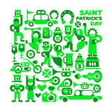 Saint Patrick`s Day. Vector illustration isolated on a white background. Various cheerful people in green celebrate and dance. Feast of St. Patrick Royalty Free Stock Photos