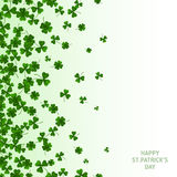 Saint Patrick`s Day Vertical Banner with Clovers. Saint Patrick`s Day Vertical Banner with Green Four and Tree Leaf Clovers on White Background. Vector Stock Photo
