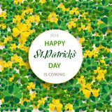 Saint Patrick`s Day Vertical Border with Green and Gold, Four and Tree Leaf Clovers on White Background. Vector illustration. Par. Ty Invitation Design, Place Royalty Free Stock Photography