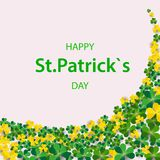 Saint Patrick`s Day Vertical Border with Green and Gold, Four and Tree Leaf Clovers on White Background. Vector illustration. Par. Ty Invitation Design, Place Stock Photo