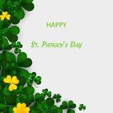 Saint Patrick`s Day Vertical Border with Green and Gold, Four and Tree Leaf Clovers on White Background. Vector. Illustration. Party Invitation Design, Place Stock Image