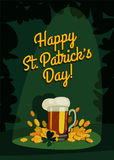 Saint patrick's day vintage cartoon. Beer and money poster. vector illustration Royalty Free Stock Photos