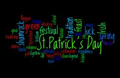 Saint Patrick`s Day word cloud. Concept of St. Patrick`s Day represented through colourful word cloud tagcloud on black background royalty free illustration