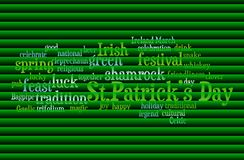 Saint Patrick`s Day word cloud. Concept of St. Patrick`s Day represented through word cloud tagcloud on green background vector illustration