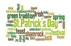 Saint Patrick`s Day wordcloud. Concept of St. Patrick`s Day represented through colourful word cloud tagcloud on white background royalty free illustration