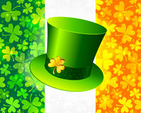 Saint Patrick's hat on Irish flag Stock Photos