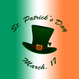 Saint Patrick's hat on Irish flag blurred background Stock Photography
