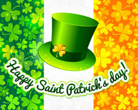 Saint Patrick's hat on Irish flag greeting card Royalty Free Stock Image