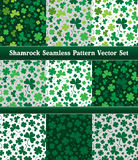 Saint Patrick's Shamrock Seamless Pattern Vector Set. Saint Patrick&'s Shamrock Seamless Pattern Vector Set with different color combinations Stock Images
