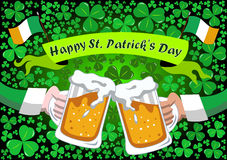 Saint Patrick s Toast Beer Steins Background Stock Photography