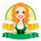 Saint Patrick Waitress Girl Banner Royalty Free Stock Photos