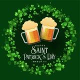Saint patricks celebration patry with beer mugs background. Vector stock illustration