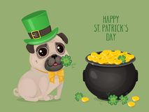 Saint Patricks Day сard with a cute pug in Leprechaun hat and pot of gold. Cartoon sweet dog with clover. Vector illustration with text `Happy St. Patricks Day Royalty Free Illustration