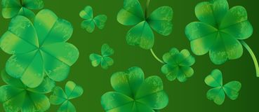 Saint Patricks Day Background Design with Green Falling Clovers Leaf. Irish Lucky Holiday Vector Illustration for Greeting Card, P. Arty Invitation or Promo Stock Image