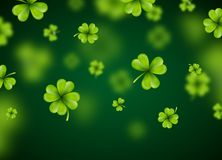 Saint Patricks Day Background Design with Green Falling Clovers Leaf. Irish Lucky Holiday Vector Illustration for Royalty Free Stock Image