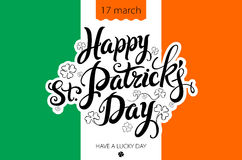 Saint Patricks Day Background with flag of Ireland and leprechaun hat Stock Photo