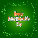 Saint Patricks Day background with green clover frame. Saint Patricks Day background with green clover confetti. Square frame of shamrock leaves with typographic Royalty Free Stock Photos