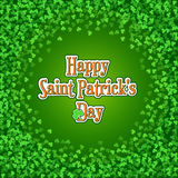 Saint Patricks Day background with green clover frame. Square Saint Patricks Day background with green clover confetti. Round frame of shamrock leaves with Stock Image