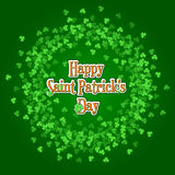 Saint Patricks Day background with green clover wreath. Saint Patricks Day background with green clover confetti wreath. Round frame of shamrock leaves with Royalty Free Stock Photos