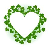 Saint Patricks Day background, heart shape frame with realistic shamrock leaves. Saint Patricks Day background, heart shape frame with cute shamrock leaves Royalty Free Illustration
