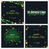 Saint Patricks Day banner. Clover leaves with coins on dark background. Vector Illustration. royalty free illustration
