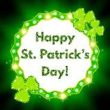 Saint Patricks Day banner with shining Shamrock Royalty Free Stock Images